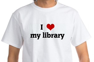 tee shirt with I love my library on it