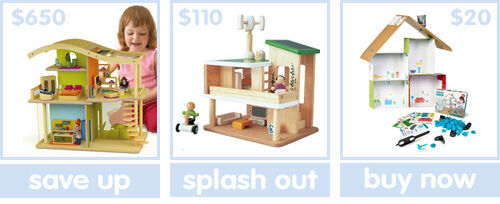 Eco friendly dollhouses from Hape, Plan Toys and Makedo