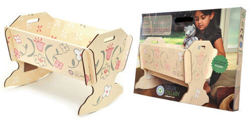 Green Lullaby recycled cardboard doll's cradle