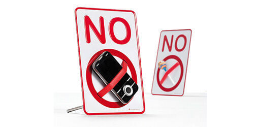 'NO' sign desktop holder