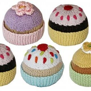 Knitted cupcake rattles