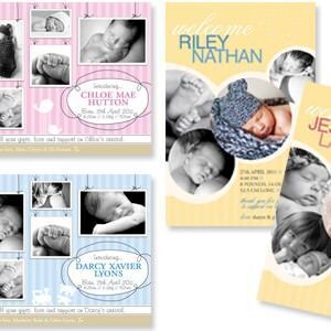 New birth announcement cards from helloBABY Designs