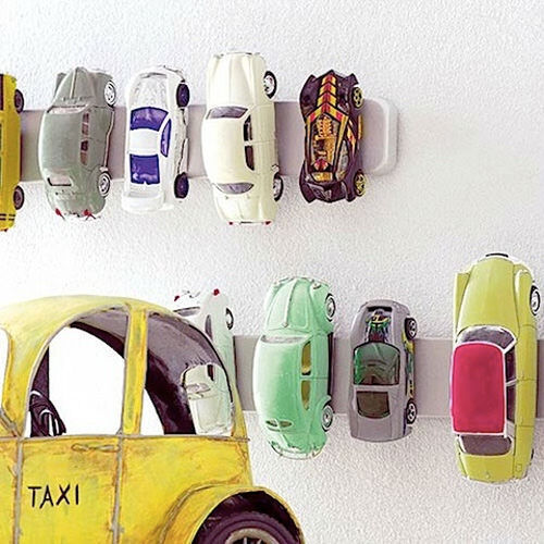 Ikea hack: magnetic toy car storage