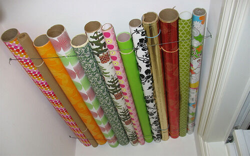 Clever ideas: gift wrap storage on cupboard ceiling