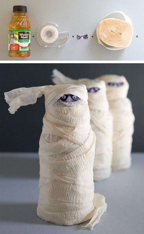 Halloween craft: mummy juice bottles