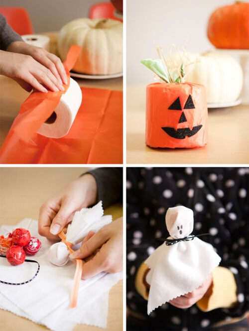 Halloween craft: trick (toilet paper pumpkin) or treat (ghost lollipops)