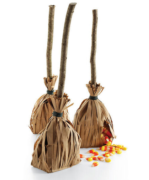 Halloween crafts: witches' broom treat bags