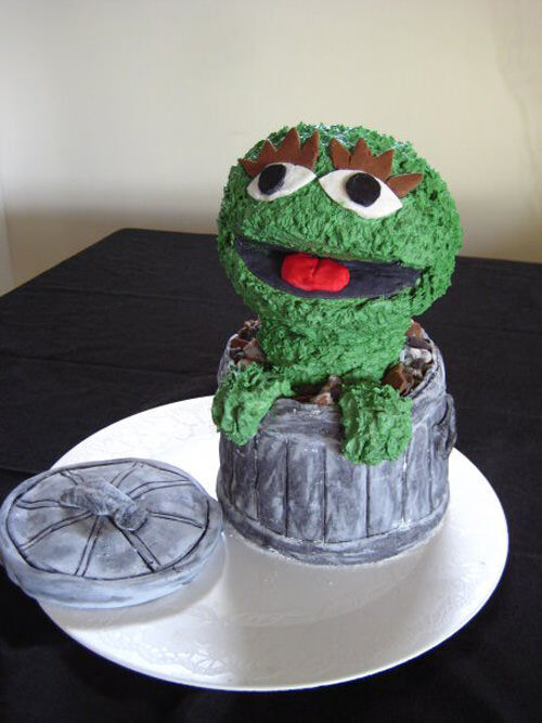 Oscar The Grouch cake by Katie Poli
