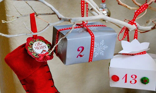 Advent calendar: Advent tree using favour boxes