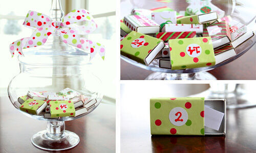 Advent calendar: matchboxes in a jar