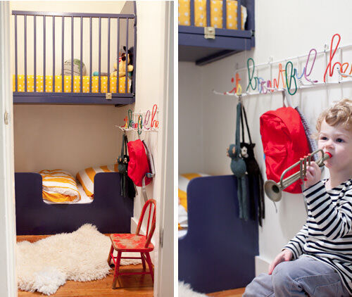 Bunk beds: cot suspended over a toddler bed
