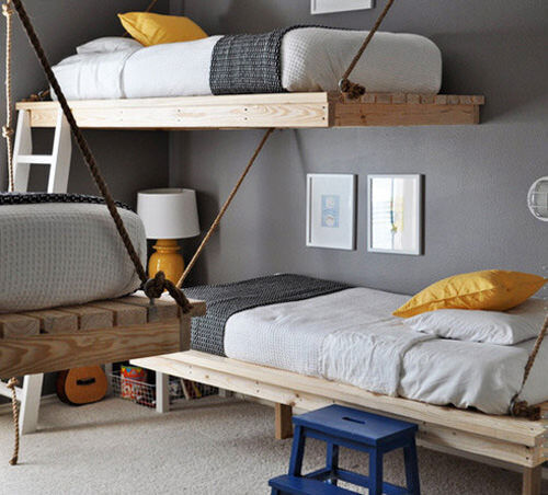 Bunk beds: suspended on ropes