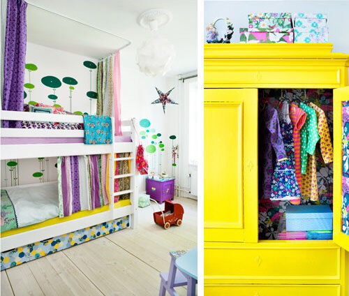 Bunk beds: colourful girls' room
