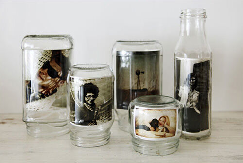 Jars used as photo frames