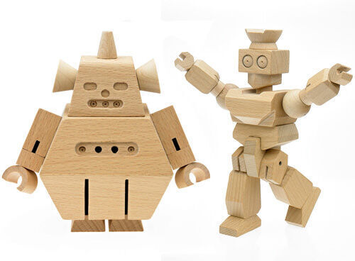 Gyrobot and Sumobot 'Woodies' wooden robots