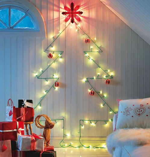 Christmas tree decor: wall mounted lights