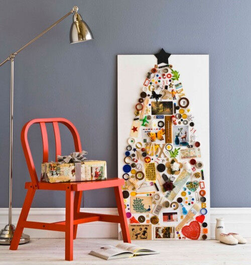Christmas tree decor: canvas mounted found objects