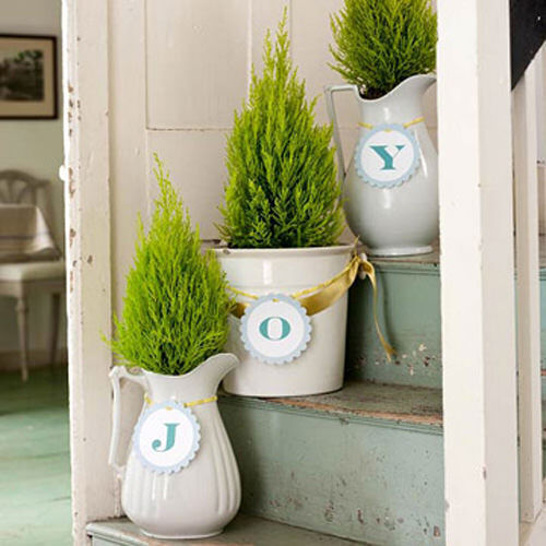 Christmas tree decor: potted ferns