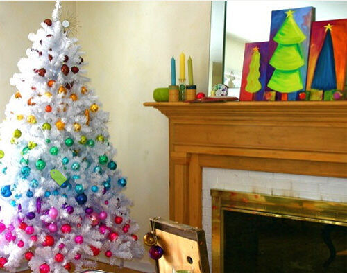 Christmas tree decor: rainbow tree