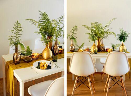 Christmas table decor: gold and green