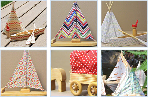 Little wooden boats, tepees and canoes