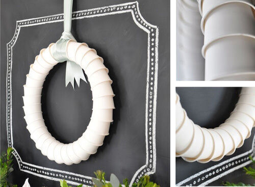 Christmas craft - paper cup wreath