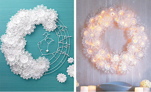 Christmas craft - doily light wreath