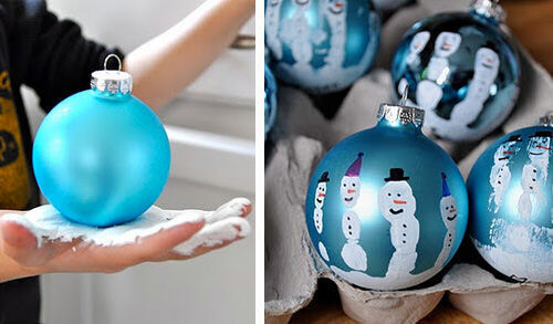 Christmas craft - handprint baubles