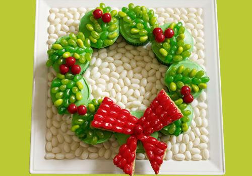 Jelly Belly jellybean wreath cupcakes