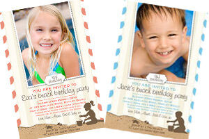 helloBABY Designs beach party birthday invitations