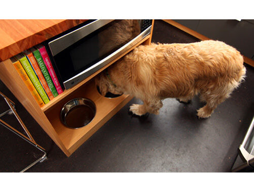 Make a dog bowl station in your kitchen using empty shelf space