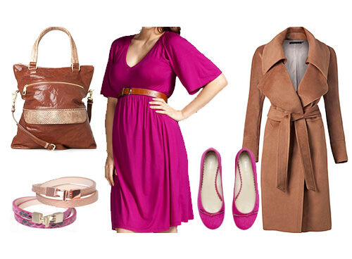 Maternity outfit: chestnut and pink