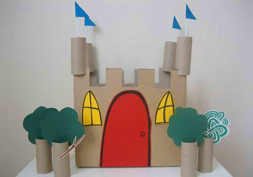 Carboard castle made from toilet paper rolls
