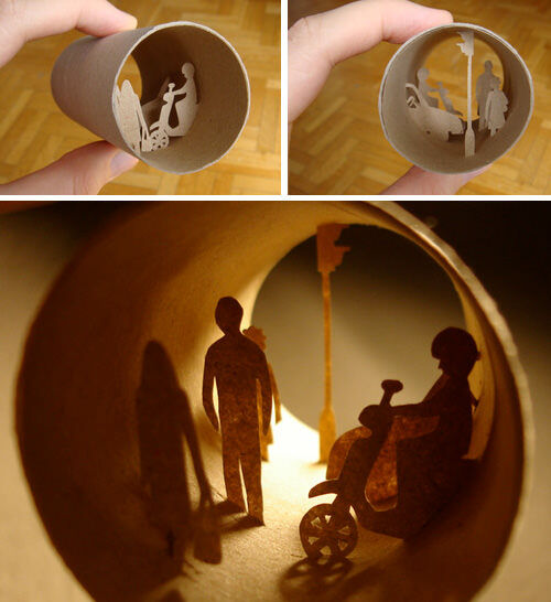 Papercut art made from toilet rolls