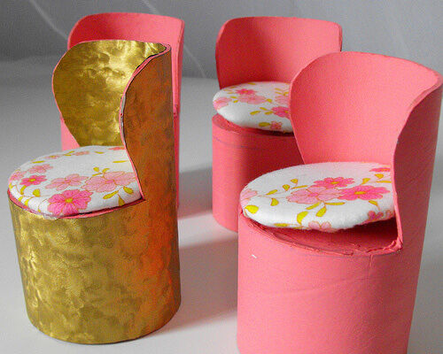 Dolls chairs made from cardboard tubes