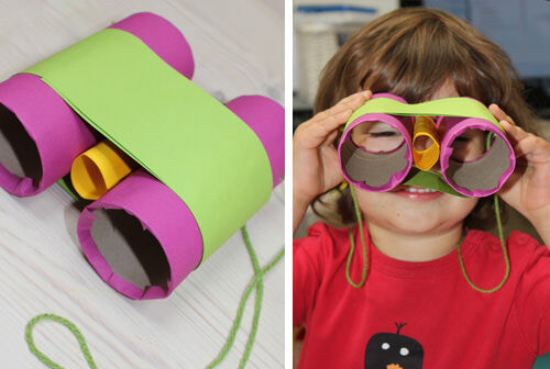 Binoculars made from toilet paper rolls
