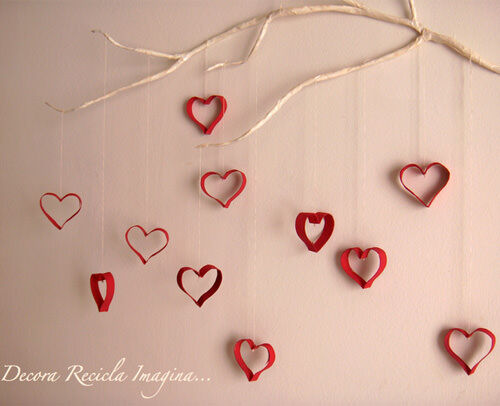 Heart decorations made from toilet paper rolls