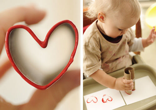 Heart stamp made from toilet paper rolls