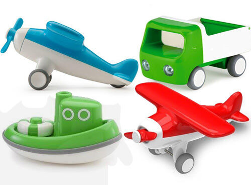 Kid O vehicles - tug boats, aeroplanes and tip trucks