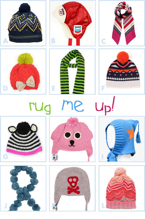 Kids' winter accessories - funky hats and scarves