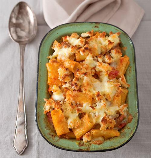 Veal Ragu with Baked Rigatoni and Bocconcini Crust