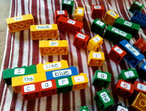 Duplo word game / sentence builder