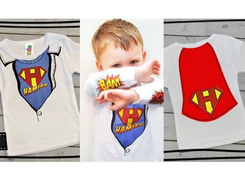 Spatz Mini Peeps personalised super hero t-shirts