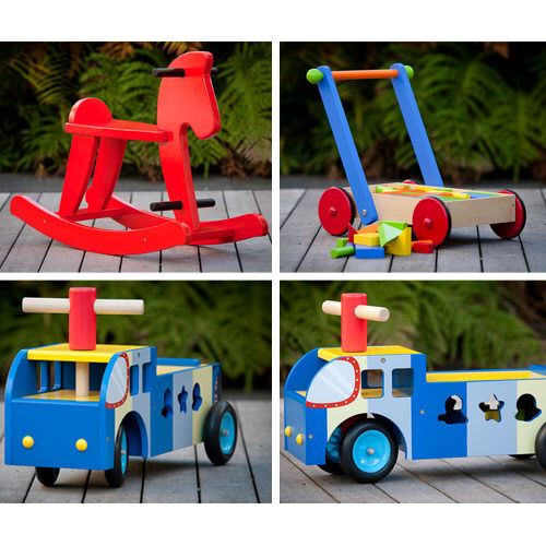 Mocka wooden ride on truck, rocking horse and wooden trolley