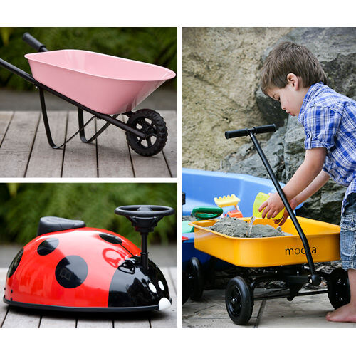 Mocka steel ride-on beetle, toy wheelbarrow, toy wagon