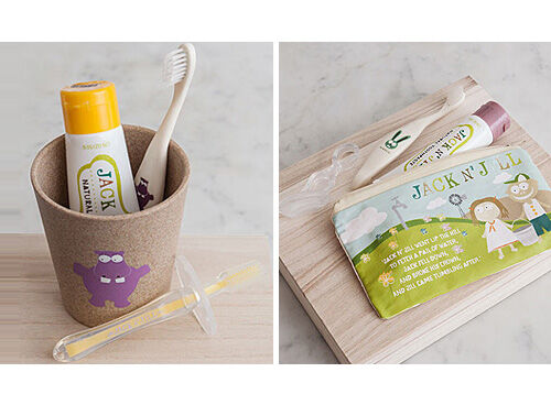 Jack N' Jill natural toothpaste and silicone toothbrushes for kids