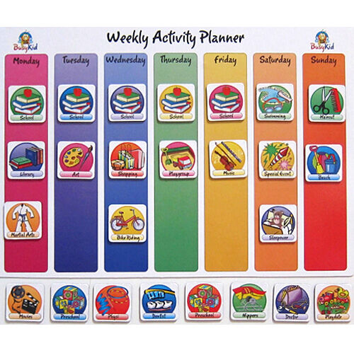 busy kid magnetic weekly activity planner