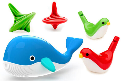 New Kid O Whale, spinning tops and whistles