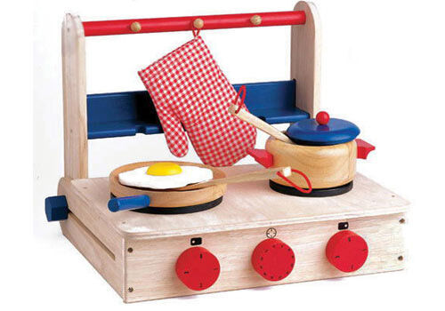 Portable wooden play cooktop