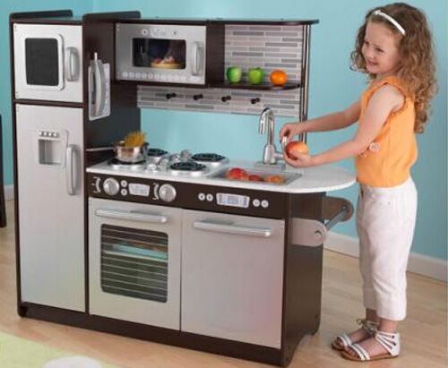 Kidkraft black and silver play kitchen